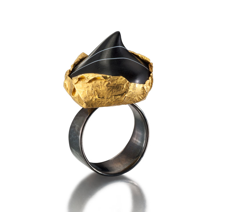 Submission by Barbara Heinrich for the 2011 black and white American Jewelry Design Council Project
