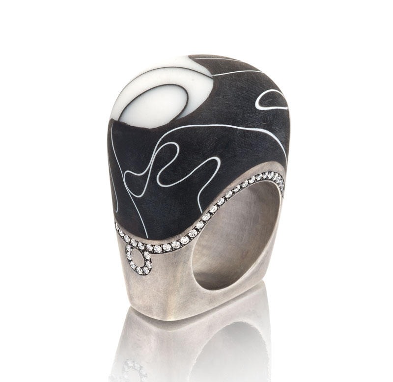 Submission by Jennifer Rabe Morin for the 2011 black and white American Jewelry Design Council Project