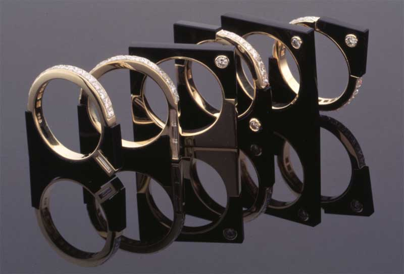 Submission by Marty Gruber for the 1996 cube American Jewelry Design Council Project